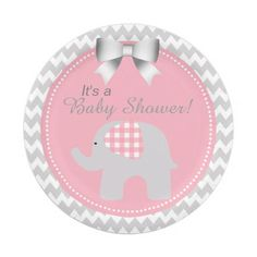 Beautiful Pink Baby Shower Custom Cute Elephant Paper Plate