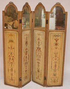 French folding 4 panel screen, top of each panel with arched mirror framed with carved bow at top above painted classical panels