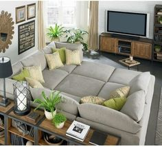This couch looks so comfortable for a family room.