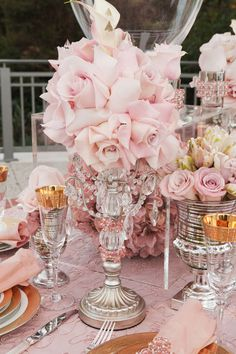 pink and gold with crystal chandelier candelabra tablescape #decor #party #wedding