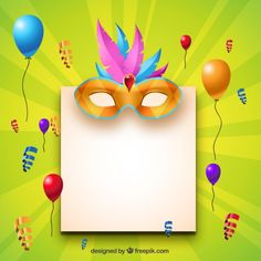 convite festa a fantasia Editar Carnival Crafts, Carnival Decorations, Thankful Tree, Instagram Logo, Mardi Gras, Birthday Wishes, Vector Free, Entertaining, Frame