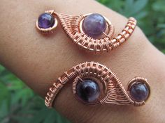 Amethyst Copper Wire Double Weave Bracelet by TheGemstoneGoddess $58