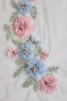Ground Fabric : Tule Color : Blue Pink Green Size (US or Imperial) : inches length x inches width Size (Metric) : 27 cms length x 13 cms width International shipping costs start at USD 20 per order. The goods are shipped through premium Rose Embroidery, Silk Ribbon Embroidery, Hand Embroidery Designs, Embroidery Thread, Embroidery Patterns, Bordado Floral, Motifs Perler, Ribbon Work, Embroidery For Beginners