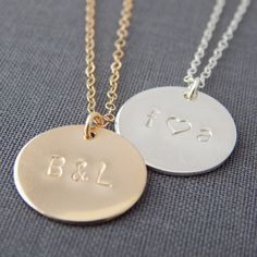 """Large 5/8"""" Personalized Disc Necklace by Barberry + Lace 
