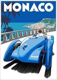 Art Deco Delahaye Monaco poster by Bill Philpot at newvintageposters.com