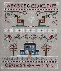 Winter Sampler Cross Stitch by Theflossbox on Etsy, $6.50