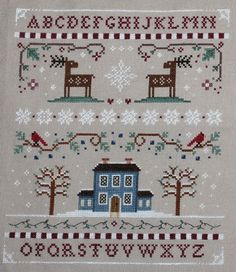 Winter Sampler Cross Stitch by Theflossbox on Etsy, $6.50