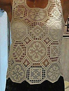 Ladies Top made out of different crochet motifs….very unusual. Thread Crochet, Filet Crochet, Irish Crochet, Crochet Motif, Crochet Lace, Crochet Stitches, Crochet Patterns, Crochet Summer Tops, Crochet Woman