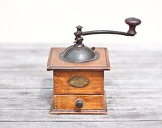 Antique Coffee Grinder Peugeot Wood French Cube Mill by frenchfelt