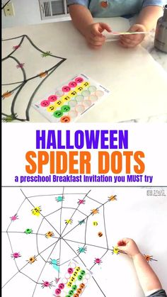 Preschool Halloween games that you and your family will love! Spider Dots is a classic that will help with fine motor grip, color matching, and a fun way to welcome Halloween! Your preschooler does not want to miss this! Halloween Theme Preschool, Fall Preschool Activities, Halloween Decorations For Kids, Halloween Activities For Kids, Theme Halloween, Preschool Math, Toddler Activities, Spider Art Preschool, Toddler Halloween Games