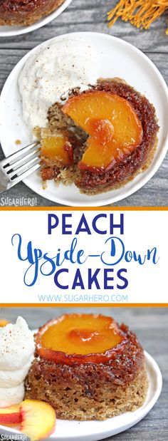 Peach Upside-Down Cakes - Delicious Spiced Cakes Topped With Juicy Caramelized Peaches. Attempt Them Warm With Ice Cream Or Whipped Cream From Fancy Cakes, Mini Cakes, Cupcake Cakes, Cupcakes, Fruit Cakes, Cake Cookies, Ice Cream Desserts, Just Desserts, Delicious Desserts