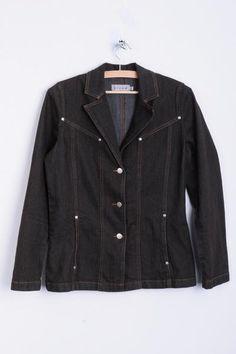 Micha Womens 36 S Blazer Jacket Denim Jeans Brown Cotton Vintage 90s - RetrospectClothes