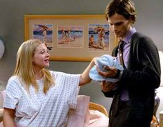 J.J. Just after giving birth to Henry of whom SSA Dr. Spencer Reid is holding.