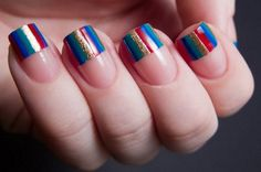 How to Do Stripes Nails   Easy Nail Art by Makeup Tutorials at http://makeuptutorials.com/nail-art-25-beautiful-spring-nail-art-ideas