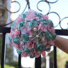 Kyunovia Ivory Ocean Beach theme Bridal Bouquets Starfish Pearl Wedding Brooch Bouquet Artificial Satin Rose Bride Bouquet FE62