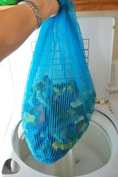 55 Must-Read Cleaning Tips & Tricks ~ Use a laundry bag to clean small toys!