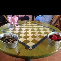 DIY checker/chess board for patio. I love this. Can't wait to make one.