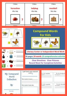 For 2nd grade, ELL, or independent workers of all ages!  This comprehensive compound word unit provides 10 activities for students to practice and learn at their own pace.  Perfect for any literacy or independent work center.  These are the very same 24 words introduced in our Compound Word Book for Therapists/Tutors, and soon to be available on ipad or android with animation and voice.