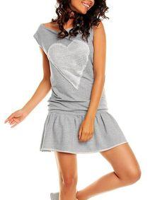 Loving this Gray Heart Drop-Waist Dress on #zulily! #zulilyfinds