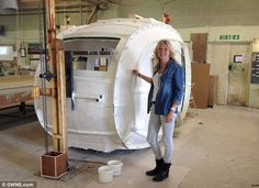 Cathy Chamberlain (pictured) was inspired to design a 'trendy' caravan when she…