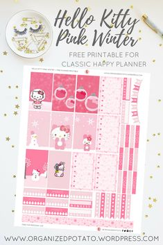 Free Printable Hello Kitty Pink Winter Planner Stickers from Organized Potato
