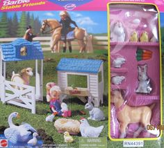 1996 Barbie STABLE FRIENDS FAMILIES Playset - Goat, Rabbit, Bunny / Bunnies, Rooster, Chicken, Chick, Eggs