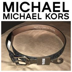 NWT Michael Kors Monogram Belt Brand new, with tags.   Black monogram Michael Kors belt with silver hardware.   Size small  Price FIRM  Bundle and save Michael Kors Accessories Belts