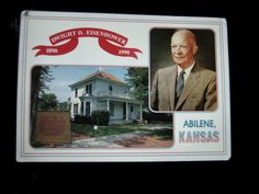 Vintage Postcard=President DWIGHT D. EISENHOWER Photo-home Abilene-KS