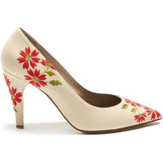 Loewe Floral-embroidered leather pumps (€365) ❤ liked on Polyvore featuring shoes, pumps, loewe, beige multi, mid heel pumps, floral print pumps, beige shoes, evening pumps and leather shoes