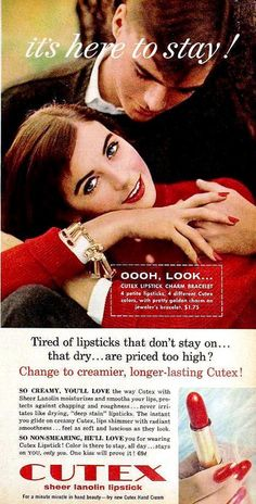 Cutex Lipstick ad, December 1957.