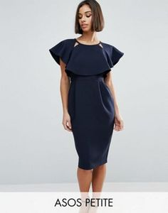 ASOS PETITE – Doppellagiges, figurbetontes Kleid mit Cutouts und Flügelärmeln