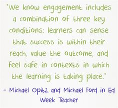 """ASCD authors Michael Opitz and Michael Ford share #engagement strategies in Education Week. They explain that engagement involves """"joyous effort."""""""