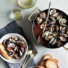 Steamed Clams with White Wine and Tomatoes | MyRecipes.com