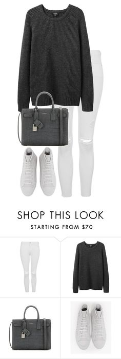 """Untitled #2483"" by elenaday ❤ liked on Polyvore featuring Topshop, A.P.C., Yves Saint Laurent and Converse"