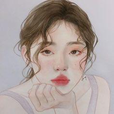 Image may contain: 1 person, drawing Kpop Drawings, Art Drawings, Watercolor Portraits, Watercolor Art, Sulli, Arte Sketchbook, Korean Art, Pretty Art, Portrait Art