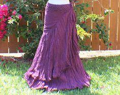 Purple tiered crinkle wrap skirt with crochet waist