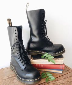 """WEBSTA @ charmschoolvintage - How sick are these bad boys?! But don't worry, they're DR prescribed! Doc Marten smooth black leather tall lace combat boot, oil resistant soles, excellent condition, 11"""" tall with 1"""" heel, marked UK 6/ US 7 (men's) estimated best fit a women's size 8, $124 / To purchase, call the store  at 512-524-0166 and pay over the phone or comment below with your email and let us know if you will pick up in the store or will need domestic/international shipping (tell us…"""