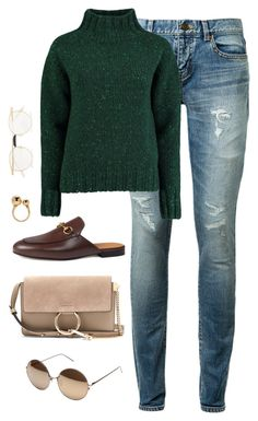 """""""Untitled #4414"""" by magsmccray on Polyvore featuring Yves Saint Laurent, Lowie, Gucci, Chloé and Linda Farrow"""