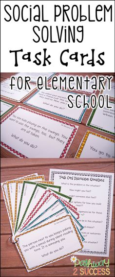 """Use these social scenarios and situations task cards to help kids learn how to solve real problems! These are ideal for kids who struggle with making good decisions or get """"stuck"""" in their thinking. So helpful for kids with autism, ADHD, and other social challenges."""