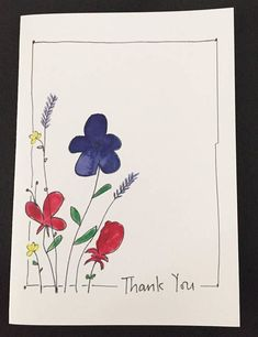 Digital Thank You card watercolor and ink hand drawn Note Cards, Thank You Cards, Frame Floral, Karten Diy, Paint Cards, Hand Drawn Flowers, Drawing Flowers, Drawing Hands, Watercolor And Ink