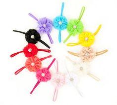 Ema Jane - Vintage Chiffon Boutique Jeweled Rosette Flowers Glued to Soft Stretcy Skinny Headbands (10 Pack) Ema Jane http://www.amazon.com/dp/B009A2YIWU/ref=cm_sw_r_pi_dp_yPFXtb0GG6S4E4RF