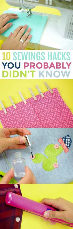 Sewing For Beginners Learning I'm so happy to share these 10 Sewing Hacks You Probably Didn't Know with you today. Whether you are a sewing pro or just a beginner sewing it is always helpful to have some sewing tips. Easy Sewing Projects, Sewing Projects For Beginners, Sewing Hacks, Sewing Crafts, Craft Projects, Sewing Tutorials, Diy Crafts, Leftover Fabric, Sewing Tools