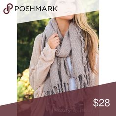 """Chunky Knit Blanket Scarf Chunky Oversized Tasseled Blanket Scarf. 100% Acrylic.  Size 77""""x20  Color Pale Rose.                                                        Search ID # chunky knit long infinity cowl neck scarf Threads & Trends Accessories Scarves & Wraps"""