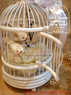 Unique ring pillow in birdcage with two doves carrying the wedding ring #white #wedding #ring pillow