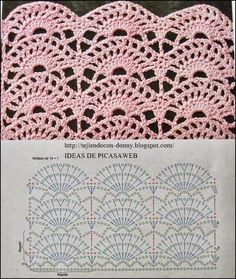 Pattern stitch for s Crochet Edging, Would be Great for shirt tails. This Pin was discovered by Mar 3 Crochet Stitches w/ diagrams. It is a website for handmade creations,with free patterns for croshet and knitting , in many techniques Crochet Diagram, Crochet Chart, Love Crochet, Crochet Motif, Crochet Lace, Crochet Hooks, Patron Crochet, Crochet Flower, Crochet Stitches Patterns