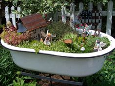 Fairy Garden in enamel tub