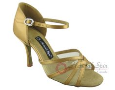 Natural Spin Signature Latin Shoes(Open Toe):  H1104NET-07a_GoldES