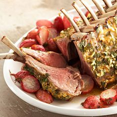 Yum! How about Herb-Crusted Rack of Lamb for Easter? More Easter recipes: http://www.bhg.com/holidays/easter/recipes/our-best-easter-menus/?socsrc=bhgpin032513rackoflamb