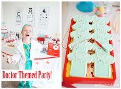 DOCTOR + Nurse themed birthday party or Med School graduation party idea via Kara's Party Ideas School Parties, Grad Parties, 1st Birthday Parties, Doctor Party, Nurse Party, Doc Mcstuffins Birthday Party, Party Planning, Party Time, Med School