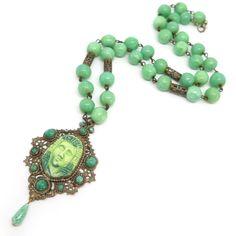 Vintage Art Deco Czech Cabochon Egyptian Revival Peking Glass Bead Necklace | Clarice Jewellery